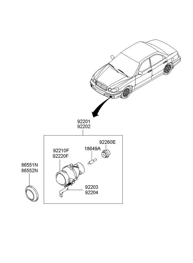 2003 hyundai sonata headlight assembly  headlamp