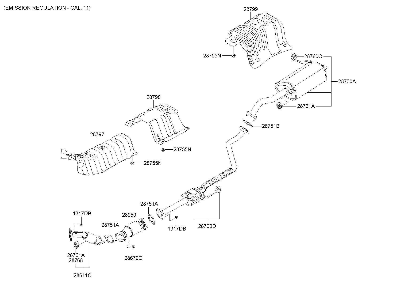 2013 hyundai i30 exhaust pipe  1800 cc