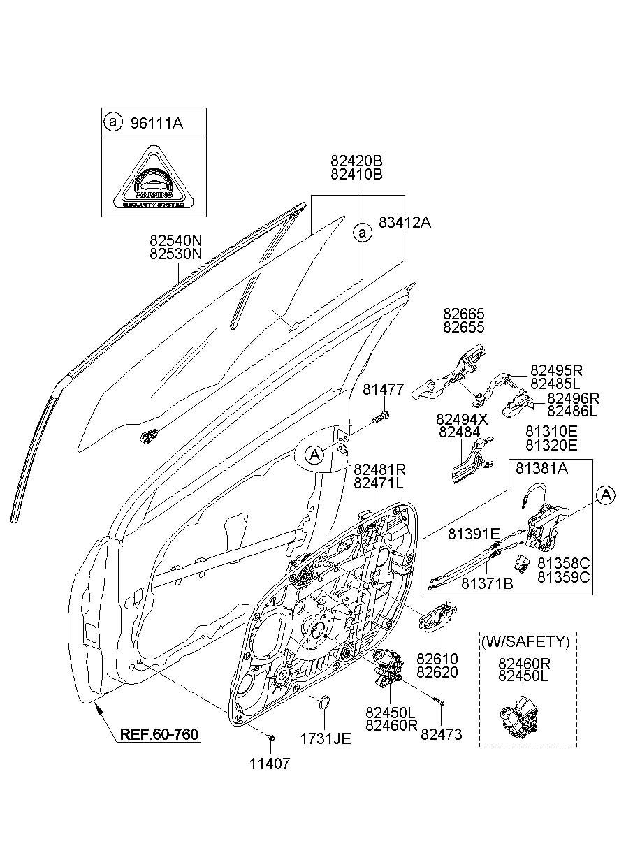 Hyundai I30 Front Door Window Regulator Glass